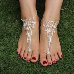 Wholesale Toe Ankle Bracelets - Ankle Bracelet Sexy Rhinestone Barefoot Sandals Toe Ring Yoga anklets Sandbeach Wedding Bridal Foot Jewelry Beach Pool Wear Valentine Gifts