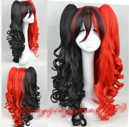 Wholesale High Quality Red Wig - 100% Brand New High Quality Fashion Picture wigs>>Harley Quinn Black and red curly hair cosplay party synthetic wigs