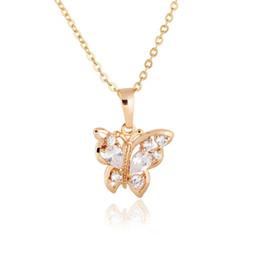 Mariposa dorada online-Animal Jewelry 18K blanco / amarillo chapado en oro Cubic Zirconia CZ lindo mariposa colgante de cadena collar para las mujeres