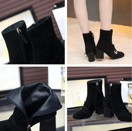 Wholesale Ladies High Buckle Boots - Wholesale Luxury Brand Ankle Boots Woman Fashion Designer Chunky Heel Zip Tassel G Buckle High Quality Lady Dress Shoes Black Original Box