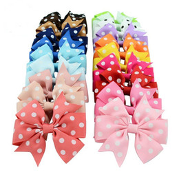 Wholesale Polka Dots Grosgrain Ribbon - New Baby Girls Hiarpins Hair Clips Grosgrain Ribbon Polka Dot Bows With Clips Hair Accessories Baby Bow Barrette Headwear 20 Colors BK219
