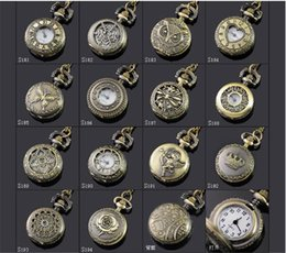 Wholesale mix style Antique Pocket watch with chain Necklace Classic Pocket Watches A052