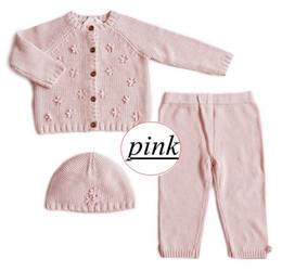 Wholesale Newborn Clothes Sale - Ins Hot Sale Infant Knitted 3D flower Romper sets Newborn Baby Girls Boys Suits hat+top+pant INS Knit suit Baby clothes 3pcs Sets 0-2years