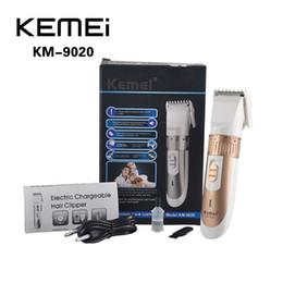 Wholesale Kemei Trimmer Cut - KEMEI KM-9020 Electric Chargable Hair Clipper Trimmer Titanium Blade Hairclipper Cutting Machine Shearer With Limit Combs EU Plug 0604052