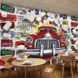 Wholesale Custom Vinyl Fabric - Extraordinary English custom European retro car wall wall 3D personalized wallpaper wallpaper gym decoration non-woven fabric