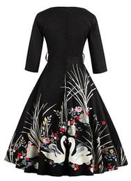 vestido de cisne vestido mulheres Desconto Floral das mulheres Meia Manga Vintage Vestidos 1950s Partido Rockabilly Vestido Plus Size Swan Impresso Cinto Vestido
