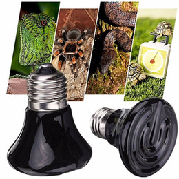 Wholesale Infrared Ceramic Heat Lamp - Mini Black Ceramic Heat Infrared Emitter Lamp Bulb Reptile Heat Lamp Pet Coop Brooder Grow Light Ceramic Heater Natural Heat Emitter