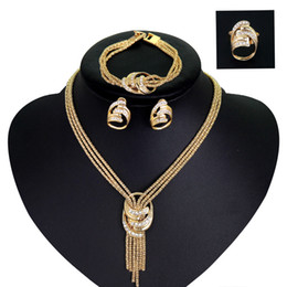 Wholesale Wholesale Gold Filled Jewelry Sets - Golden plated jewelry sets bracelets earrings rings necklace vintage big brand jewelry sets in 4 pieces crystal rhinestone fine jewelry