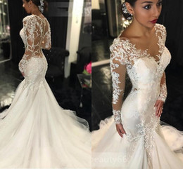 Wholesale Dress Chantilly - Sexy Ivory Wedding Dresses Mermaid See Through Long Sleeves Beaded Lace Bridal Gowns chantilly fit to flare Cheap