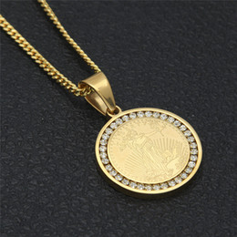Wholesale Liberty Round - New High Quality Gold Chains Round LIBERTY Army Pendant Necklace Stainless Steel Men Women Chain Christmas Gift Wholesale