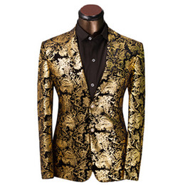 Wholesale Blazer Mens Clothing - Wholesale-2016 Brand Clothing Luxurious Gold Suits Mens Printing Blazer Casual Floral Jaqueta De Luxo Blazer Jackets For Men
