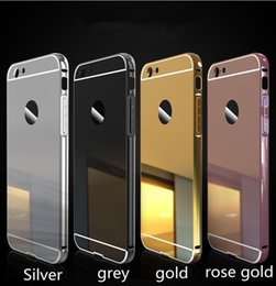 Wholesale Handbag Mirror Silver - Luxury Mirror Bumper Case Metal Aluminum Gold Plating Frame back Case cover For Iphone7 7plus 6 6S PLUS 5S LG G2 G3 G4 G5 Samsung S7 edge S6