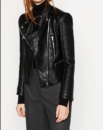 Wholesale Black Quilted Leather Jacket - Wholesale- 2016AW New Fashion Woman Black Faux Leather Effect Cropped Jacket With Long quilted sleeves Pockets with zips Biker Jackets Coat