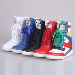 Wholesale Wedge Colors - Top Quality Ladies Fashion Luxury Brand MJ High Top Shoes Lace up Hidden Increase Wedge Sneakers Women Ankle Boots 34-40