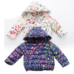 Wholesale Winter Cotton Gloves - Korean Children Winter Jackets Girls Cotton Padded Jacket with Hoodies Gloves Butterfly Printed Baby down Coats
