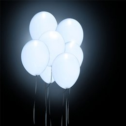 Wholesale White Led Balloons - 12 inch White Led Latex Balloon Fix Color Helium Inflatable Party Glow Birthday Party Supplies Wedding Decoration Free Shipping