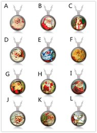 Wholesale Necklace For Teen - 16Styles Time Gem Cabochon Santa Necklaces Xmas Reindeer Key Chain 3colors Christmas Sweater chains Key rings Xmas gifts for adult and teen