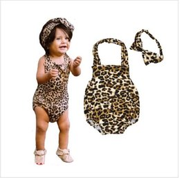 Wholesale Girls 15 Days - 15% off! 2016 new Baby Girls Jumpsuit Halter Leopard Printed one-piece+headbands rompers Clothes Baby leopard triangle climb clothes 3 sets