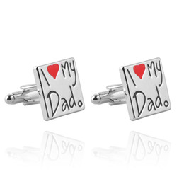 Wholesale french letters - 2018 cufflinks Father's Day gift i love dad love letter French cufflinks cuff for father of father's day zj-0903779