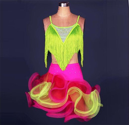 Wholesale Latin Dance Costumes For Girls - Latin Dance Dress Women Girls For Sale Rose Yellow Blue Green Fitness Clothes Stage Costumes Tassel Cha Cha Rumba Dance Dresses FN039