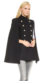 Wholesale Double Cap Jacket - 2017 Trendy Fashion Black Long Women Coat with Cape High Neck Cap Sleeve Button Elegant Winter Jacket outwear M--2XL Hot New