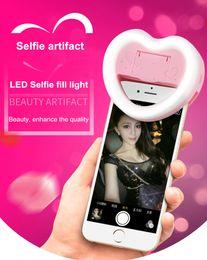Corazón led luces mini online-LED anillo de luz selfie autofoto Protable Mini LED Flash CLIP ON SELFIE RING LIGHT Iluminación de timbre complementario para iPhone 7 plus