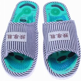 Wholesale Floor Care - Wholesale- New Sale Foot Acupoint Massage Shoes Foot Health Care Magnet Therapy Slippers Striped Pattern Indoor Shoes For Women & Men