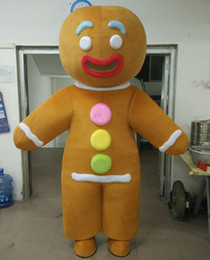 Wholesale Mascot Funny - SX0723 With one mini fan inside the head funny adult gingerbread man mascot costume for adults to wear