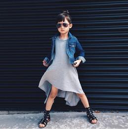 2016 primavera outono saia T-shirt roupas de flores longas roupas vestido de menina de algodão misturas crianças saia lazer desgaste coreia estilo lolita 800009 de