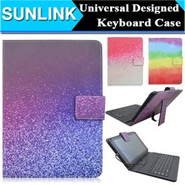 Wholesale Animal Cases For Tablets - Universal 7 10 inch Tablet PC Micro USB Keyboard Wallet Case for Q88 Samsung Tab Rainbow Flower Sky Designed PU Leather Cover + Stand Holder