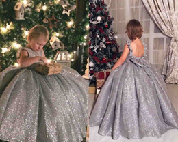 Wholesale Shiny Bow - Princess Flower Girl Dresses Shiny Silver Jewel Neck Communion Dresses Backless Bow Sash Pageant Girl Ball Gowns