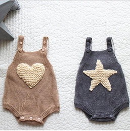 Wholesale New Design Sweaters - INS new arrivals fall baby kids climbing romper 100% cotton heart star design sweater romper girl boy kids romper kids autumn rompers 0-3T