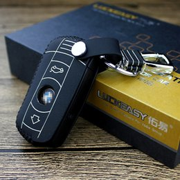Wholesale Bmw Leather Key Cover - Leather car key case for bmw 2 buttons 1 3 5 7 X5 2015 2016 car key cover Genuine Leather keychain remote cover