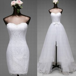 Wholesale Two Color Corset - Cheap High Quality Wedding Dress with Removable Skirt Short Mini Sheath Lace Two in One Wedding Dresses Tulle Overskirt Bridal Gown Corset