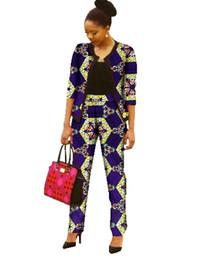 Wholesale Private Single - Wholesale-Women Two Piece Outfits Pants African Women Clothing Plus Size Women Cloth 6xl Private Custom 2 Piece Sets Unique Original