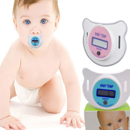 Wholesale Wholesale Oral Digital Thermometers - 2017 new infant Pacifier type LCD Thermometers toddler nipple Thermometers for baby Health care C2877