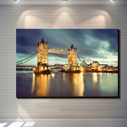 Wholesale Poster Printing London - Vintage London Bridge Tower Pictures Painting Canvas Poster Painting Prints Hotel Bar Garage Living Room Wall Home Art Decor Poster