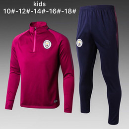 Wholesale Sweater Pants Piece - city Aguero De Bruyne Sterling kids tracksuit 17 18 Boy soccer Jersey chandal football tracksuit Child jacket training suit pants sweater