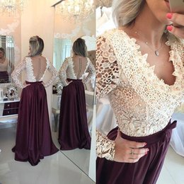 Wholesale Navy Skirt Bow - 2016 Robe De Soiree V-neck Lace Bodice Prom Dresses Long Sleeves Pearls Backless Satin Skirt Fiesta Button Back Evening Dresses with Bow
