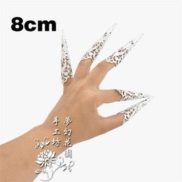Wholesale Belly Dancing Nails - Of guanyin nails Zhen Huan preach armor set ancient Indian peacock belly dance shows long fingernails set of 8 cm