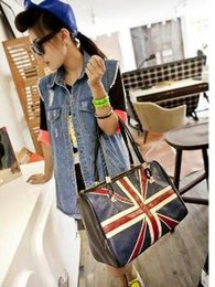 Wholesale Ladies Leather Shoulder Bags Uk - Wholesale-New Fashion Women's British Style Union Jack UK Flag Leather Handbag Shoulder Big Bagfor women Vintage Messenger Bag