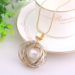 Wholesale Necklaces Hundreds - European and American fashion women's long section of the pearl sweater chain full with clothes one hundred copper pendants necklace accesso