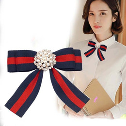 Wholesale Necktie Women Accessories - Striped Fabric Bow Brooches for Women Necktie Style Brooch Pin Wedding Dress Shirt Pearl Diamond Brooch Pin Handmade Accessories