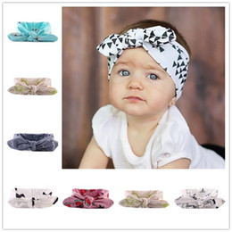 Wholesale Holiday Boutique Hair Bows - Baby Girl Headbands and Bows For Newborn Fahion Kids holiday Cotton headbands Children boutique hair accessories Bunny Ear Hairbands KHA116