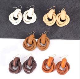 Wholesale Korean Handmade Earrings - Bohemia Handmade Twisted Wooden Earrings Korean Creative Cross Joint Round Circle Wood Dangle Earrings Pendientes Ear Jewelry