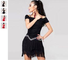 Wholesale Latin Dance Competition Dress Black - 2016 Latin Dance Costumes For Women Competition Red Black Tassel Cha Cha Rumba Samba Cowboy Paso Doble Latin Dancing Dresses