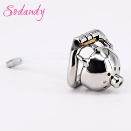 """Wholesale Locking Metal Chastity - SODANDY 1.3"""" Super Small Male Chastity Cage Metal Penis Locked In Chastity Belt Device Men Cock Cage Urethral Stretcher Dilator Catheter"""