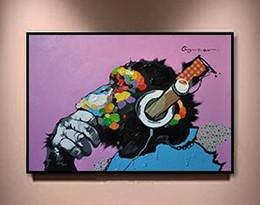 Macaco Usando Fones De Ouvido, Pintados À Mão Abstrata Moderna Animais Arte Pintura A Óleo, Casa Decoração Da Parede em Alta Qualidade tamanho Da Lona pode ser personalizado de Fornecedores de decoração cocar