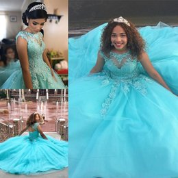 Wholesale Princess Prom Puffy Dress - Light Blue Ball Gown Princess Quinceanera Dresses O-Neck Appliques Beaded Vestidos de 15 anos Puffy Tulle Prom Dresses Gowns