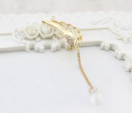 Wholesale Wing Earring Cuff - High quality Angel wings crystal chain ear clip U-shaped bone ear clip Elegant earrings for women